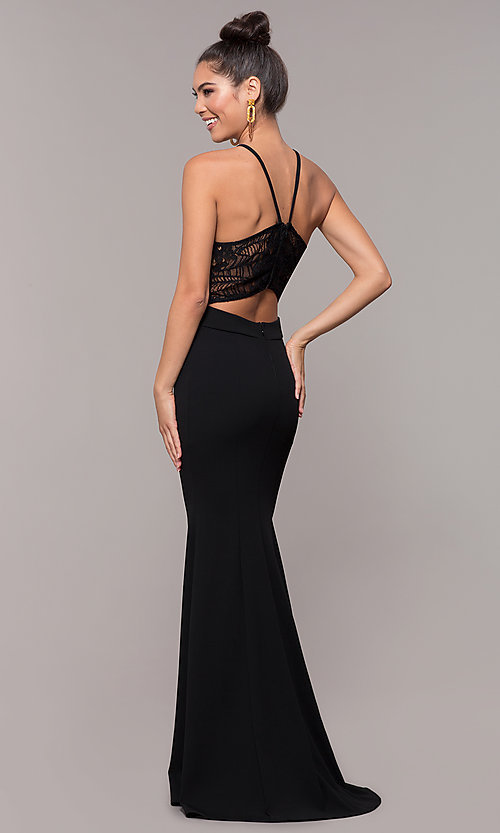 Image of long back-cut-out mermaid prom dress by PromGirl. Style: MCR-3051r Detail Image 5