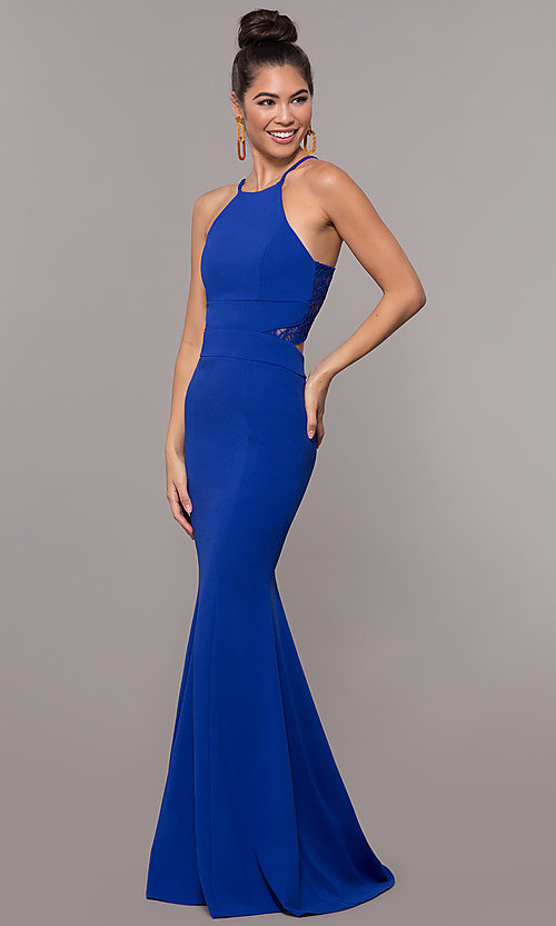 Image of long back-cut-out mermaid prom dress by PromGirl. Style: MCR-3051r Detail Image 3