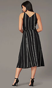 Image of striped knee-length casual party dress. Style: EM-HLD-4219-020 Back Image