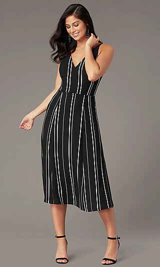 Striped Knee-Length Casual Party Dress