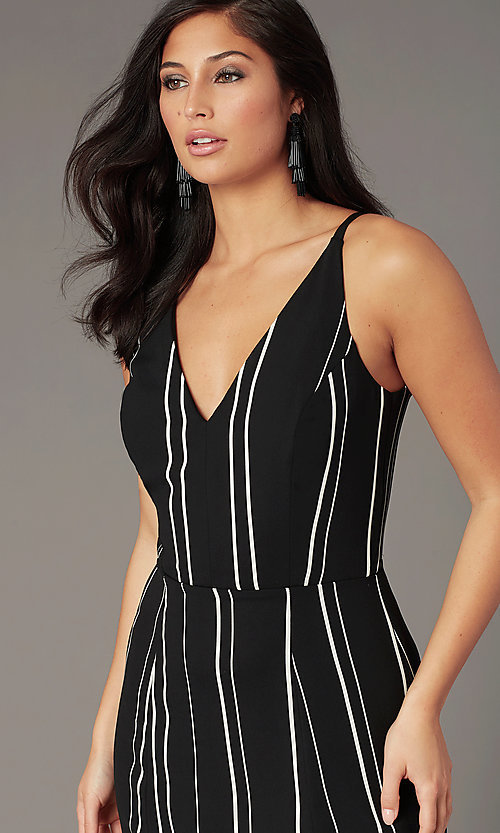 Image of striped knee-length casual party dress. Style: EM-HLD-4219-020 Detail Image 1