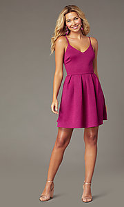Image of short magenta pink glitter party dress. Style: EM-HKB-2589-666 Detail Image 1