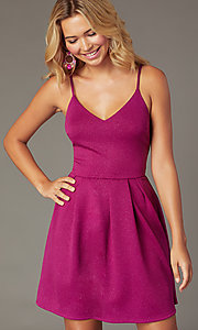 Image of short magenta pink glitter party dress. Style: EM-HKB-2589-666 Front Image