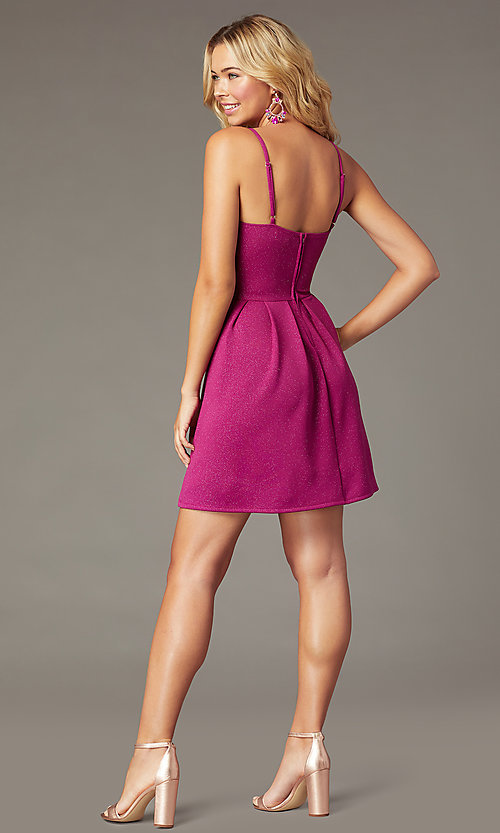 Image of short magenta pink glitter party dress. Style: EM-HKB-2589-666 Back Image