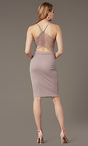 Image of knee-length glitter-knit v-neck party dress. Style: EM-HIY-3646-530 Back Image