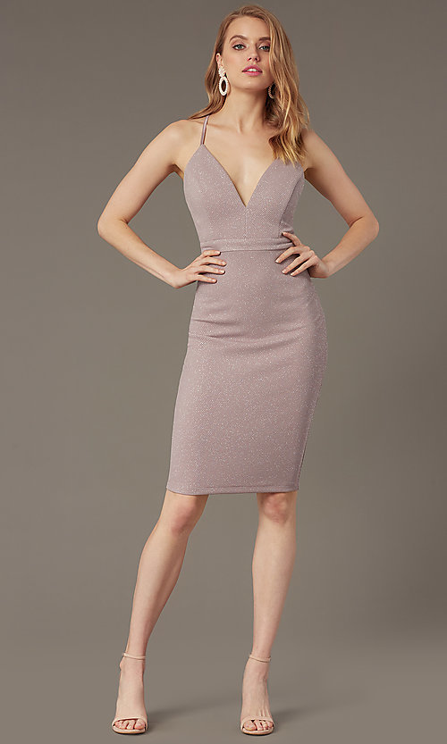 Image of knee-length glitter-knit v-neck party dress. Style: EM-HIY-3646-530 Front Image