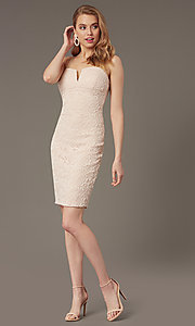 Image of empire-waist short lace wedding-guest dress. Style: EM-FWD-3831-690 Front Image