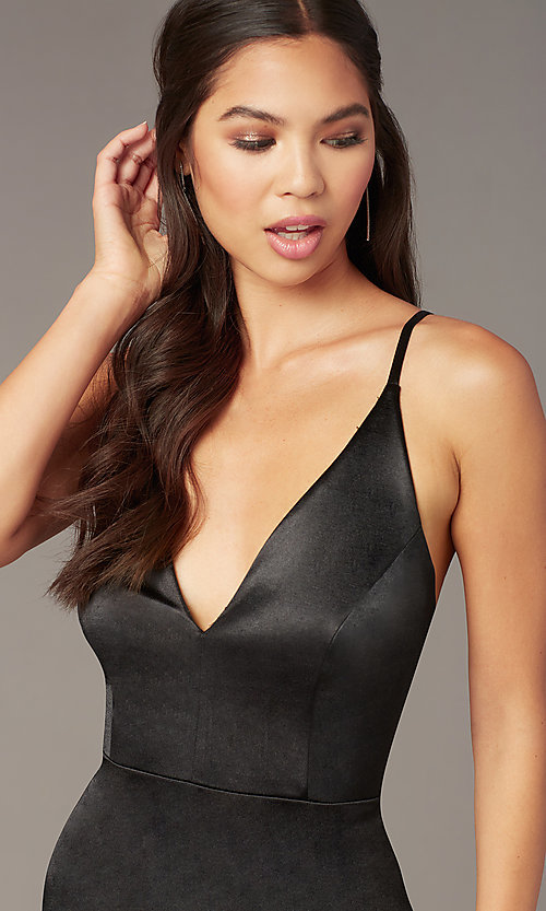 Image of short v-neck black party dress with open back. Style: JU-11298 Detail Image 2