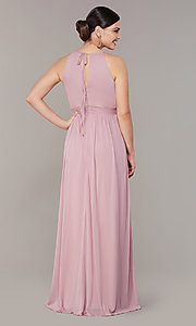 Image of rose pink long formal prom dress with beaded waist. Style: JU-ON-650461 Back Image