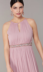 Image of rose pink long formal prom dress with beaded waist. Style: JU-ON-650461 Detail Image 2