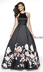 Image of long a-line print designer prom dress by Blush. Style: BL-11136Z Front Image