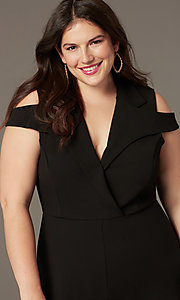 Image of cropped-leg cold-shoulder plus-size party jumpsuits. Style: SY-IXB-1536AP Detail Image 1