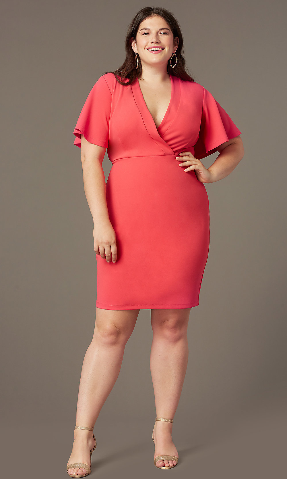 Empire-Waist Short Plus-Size Wedding-Guest Dress