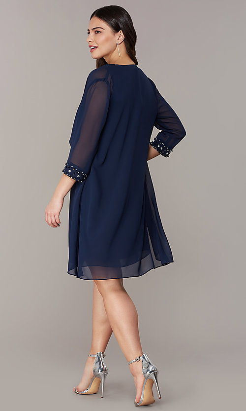 Image of short wedding-guest shift dress with jacket. Style: IT-9170367 Back Image