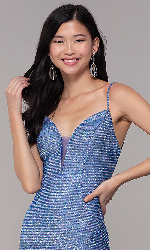 Image of long glitter-knit strappy-back sapphire prom dress. Style: DJ-A8051 Detail Image 1