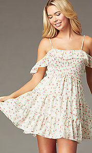 Image of short casual print dress with off-shoulder ruffles. Style: STO-JD1969 Front Image
