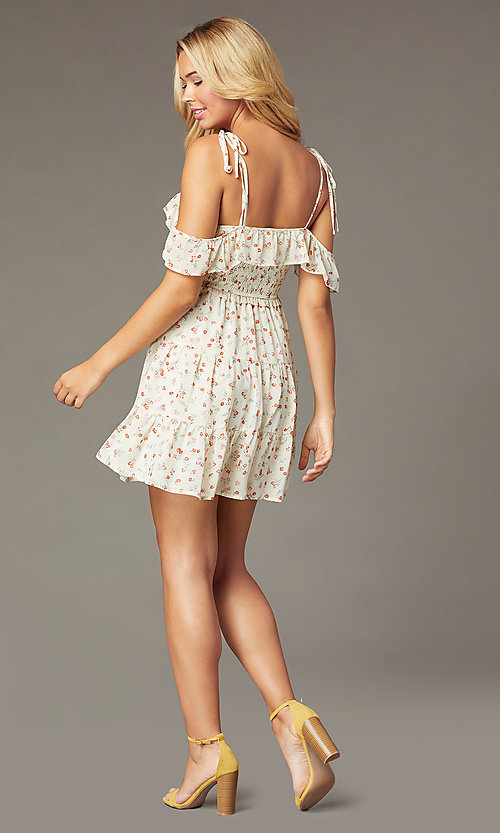 Image of short casual print dress with off-shoulder ruffles. Style: STO-JD1969 Back Image