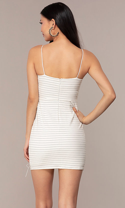 Image of short black-striped white graduation party dress. Style: AC-DH24533E Back Image
