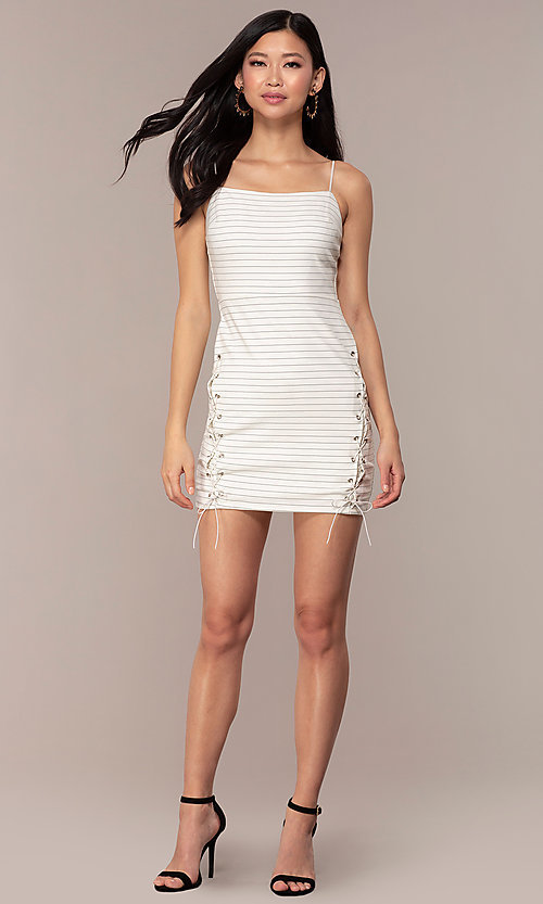 Image of short black-striped white graduation party dress. Style: AC-DH24533E Detail Image 3