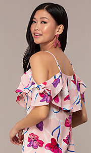 Image of short floral off-the-shoulder shift party dress. Style: AC-DHS24251E Detail Image 2