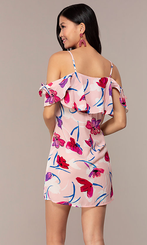 Image of short floral off-the-shoulder shift party dress. Style: AC-DHS24251E Back Image