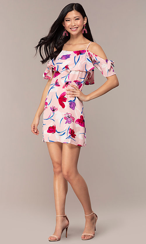 Image of short floral off-the-shoulder shift party dress. Style: AC-DHS24251E Detail Image 3