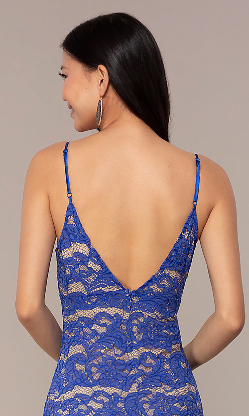 Image of short empire-waist royal blue lace party dress. Style: AC-DHS24468B Detail Image 2
