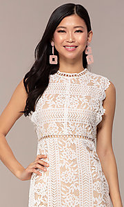 Image of short high-neck lace graduation party dress. Style: AC-DS24755B Detail Image 1