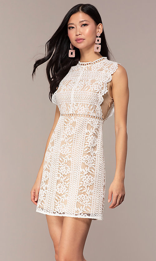 Image of short high-neck lace graduation party dress. Style: AC-DS24755B Front Image