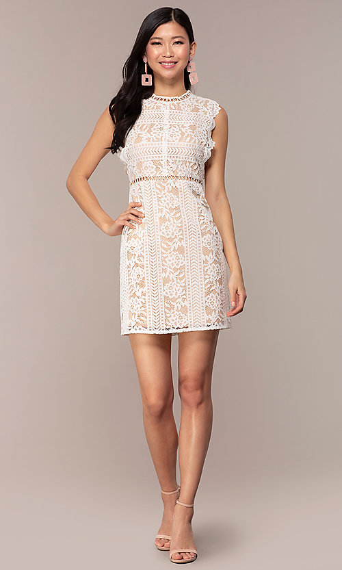 Image of short high-neck lace graduation party dress. Style: AC-DS24755B Detail Image 3