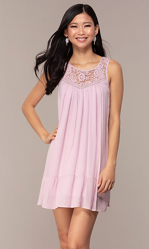 Image of short casual shift purple party dress. Style: AC-ED14323VL Front Image