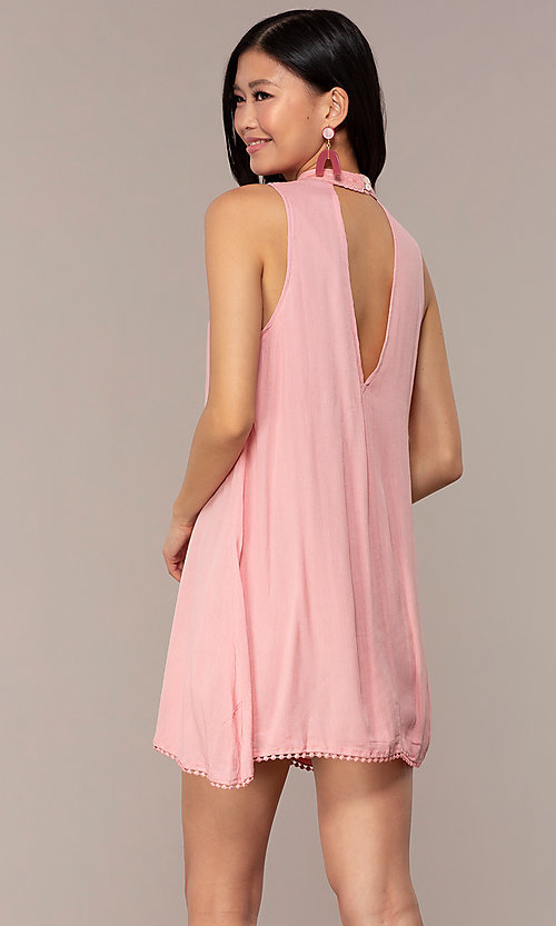 Image of short high-neck shift graduation pink party dress. Style: AC-ED14431WL Back Image