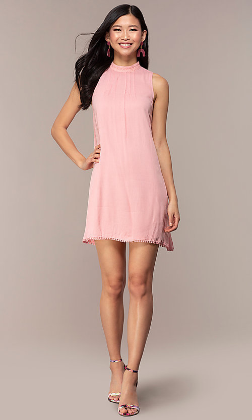 Image of short high-neck shift graduation pink party dress. Style: AC-ED14431WL Detail Image 3