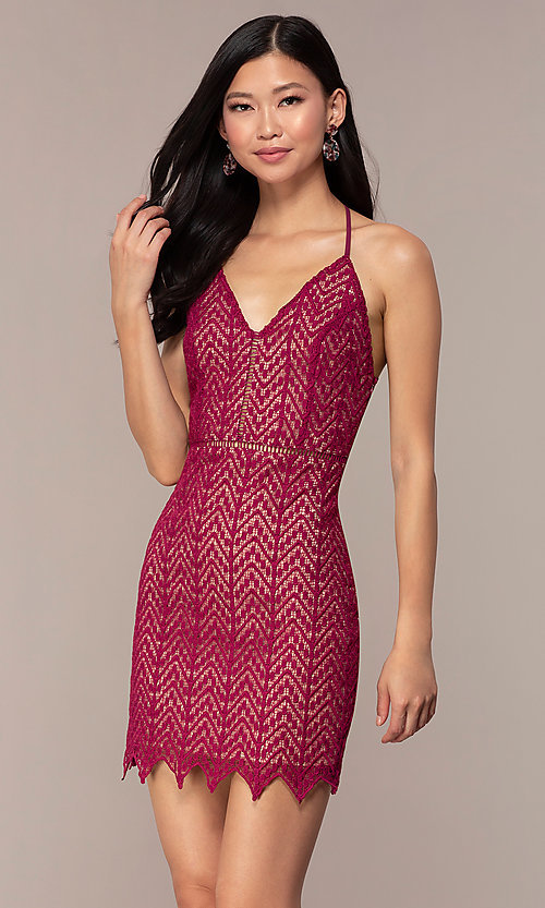 Image of short chevron-lace v-neck strappy-back party dress. Style: AC-ED15960EH Front Image