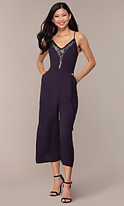 Image of cropped-leg lace-trimmed v-neck jumpsuit for parties. Style: AC-NA73884A Detail Image 3