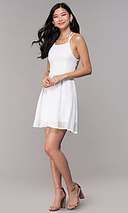 Image of short open-caged-back graduation party dress. Style: SJP-KHG104 Detail Image 4