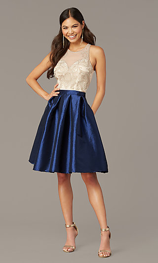 Short Embroidered-Bodice Taffeta Homecoming Dress