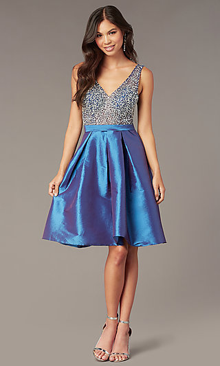 Embellished-Bodice Short V-Neck Homecoming Dress