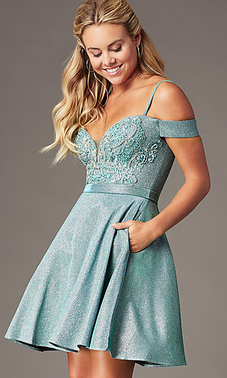 Beaded-Bodice Sparkly Short Homecoming Party Dress