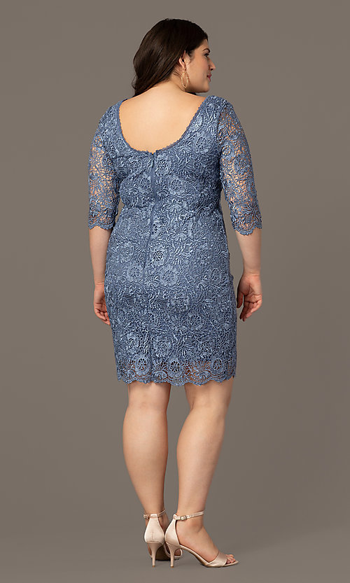 Image of thee-quarter-sleeve lace plus wedding-guest dress. Style: SOI-PS40129 Back Image