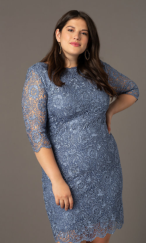 Image of thee-quarter-sleeve lace plus wedding-guest dress. Style: SOI-PS40129 Detail Image 1