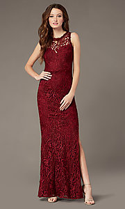 Image of plum red lace long formal dress with side slit. Style: SOI-M18705 Front Image