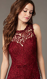 Image of plum red lace long formal dress with side slit. Style: SOI-M18705 Detail Image 1