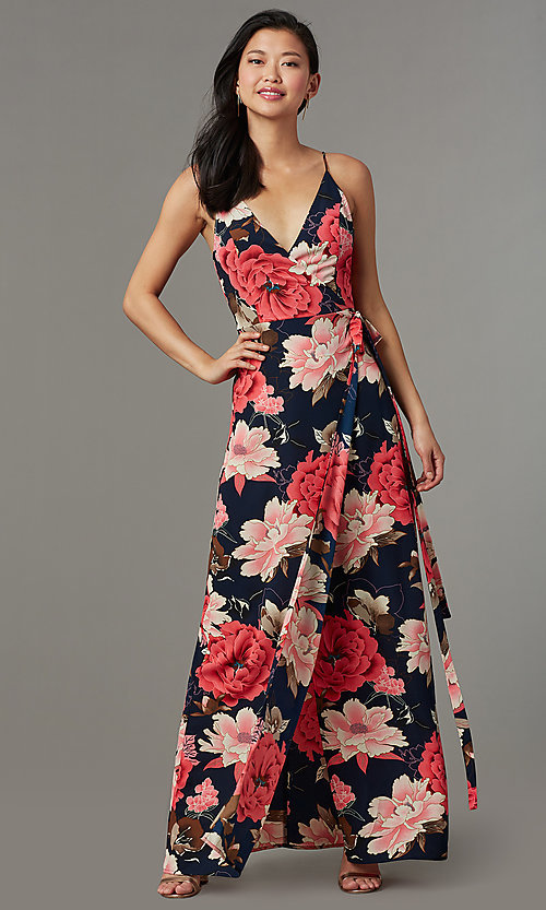 Image of maxi-length floral-print wedding-guest party dress. Style: SOI-M18079-B48 Front Image