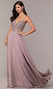 Image of long embellished-bodice prom dress in chiffon. Style: DQ-2780 Detail Image 3