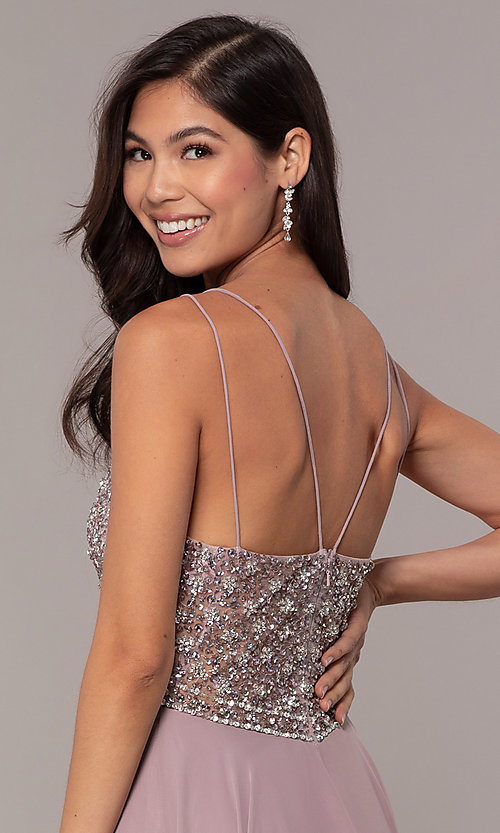 Image of long embellished-bodice prom dress in chiffon. Style: DQ-2780 Detail Image 2