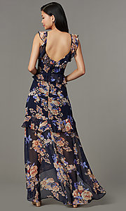 Image of v-neck maxi floral-print wedding-guest dress. Style: LUX-LD5410 Back Image