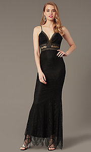 Image of long lace black prom dress with sheer waist. Style: LUX-LD5362 Front Image