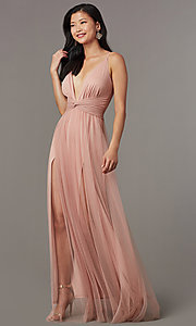 Image of long v-neck prom dress with knotted waist. Style: LUX-LD5462 Front Image