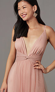 Image of long v-neck prom dress with knotted waist. Style: LUX-LD5462 Detail Image 1